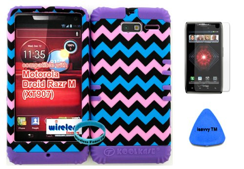 Hybrid Cover Bumper Case For Motorola Droid Razr M (Xt907, 4G Lte, Verizon) Protector Baby Pink, Blue, Black Chevron Pattern Snap On + Purple Silicone (Included Wristband, Screen Protector And Pry Tool By Wirelessfones) front-797758