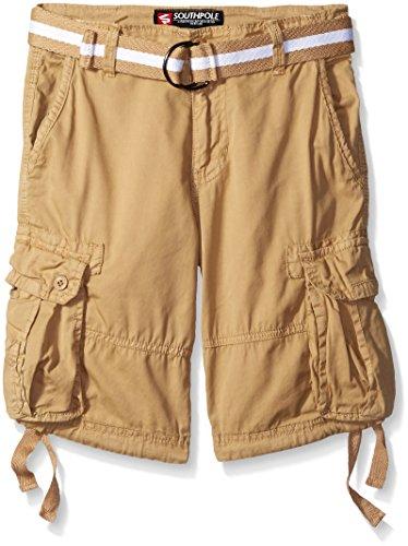Southpole Big Boys Belted Fine Twill Basic Cargo Short, Deep Khaki, 14