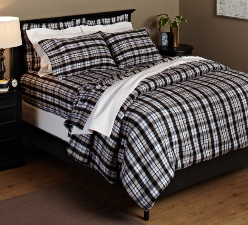 Pinzon 160-Gram Yarn-Dyed 100-Percent Cotton Flannel Duvet Cover, Full/Queen, Black/Khaki Plaid front-1016974