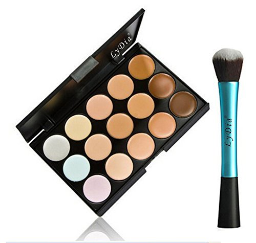 LyDia UK STOCK 15 Colours Cream Concealer/Highlight/Face Contour Camouflage Palette Dull/Redness Skin/Black Circle kit set + LyDia Blue-1052 Round Foundation/Concealer Makeup Brush by LyDia
