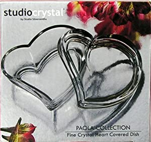 Studio Crystal Paola Collection Fine Crystal Heart Covered Dish #43593
