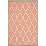 Safavieh Cambridge Collection CAM352W Handmade Coral and Ivory Wool Area Rug, 4 feet by 6 feet (4' x 6')