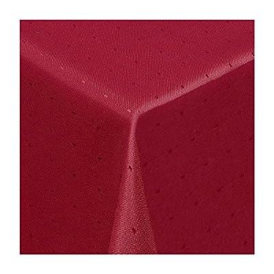 """Damast Tischdecke Maßanfertigung im """"Punkte-Design"""" in wein-rot 140 cm breit, Länge wählbar von Texmaxx - Gartenmöbel von Du und Dein Garten"""