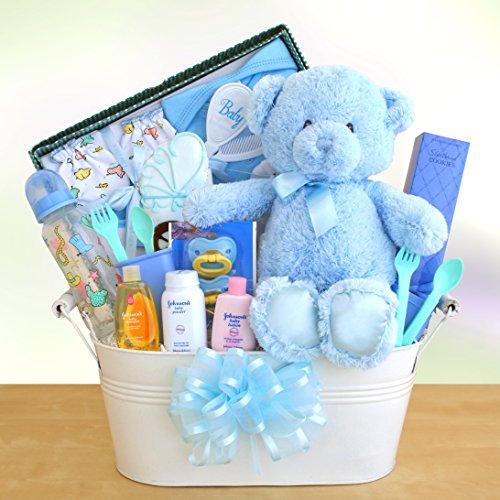 Just Arrived Baby Boy Gift Basket front-365838