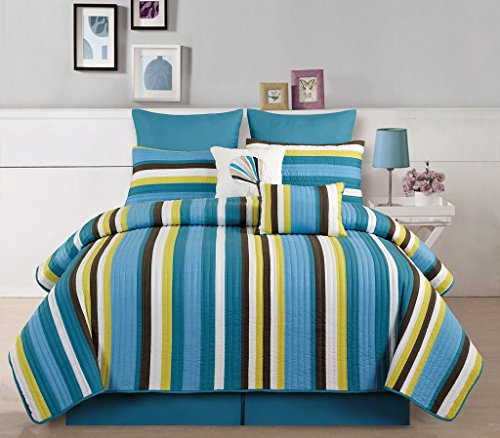7 Piece Twin Broomfield Teal/Yellow Quilt Set (Twin Teal Quilt compare prices)