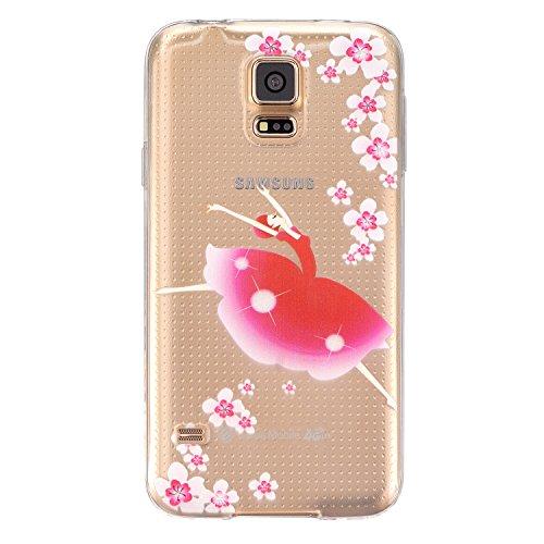 Ecoway Schutzhülle / Cover / Case Bunte Muster Weich TPU Handy Hülle für Samsung Galaxy S5 SV I9600 G900 - dancing Girl