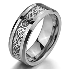 buy Men'S Tungsten Ring Band Silver Black Irish Celtic Knot Dragon Vintage Wedding Size9