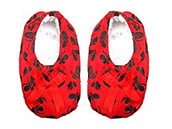 Jack & Ginni Designer Wollen Red Colour Footie for Baby Girl & Baby Boy - 1 Pair Pack