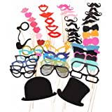 51PCS Colorful Props On A Stick Mustache Photo Booth Party Fun Wedding Christmas Birthday Favor