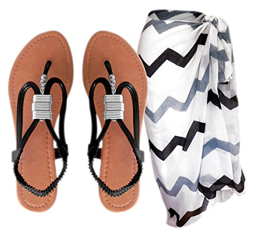 Peach Couture Elsa Beaded Thong Sandal W/ Bonus Chevron Sarong Beach Cover Up Pareo Wrap (Onyx, 9) front-977099
