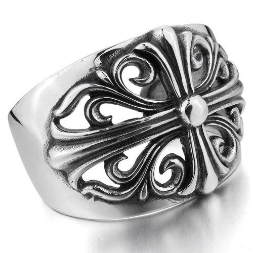 Justeel Men Heavy Stainless Steel Bracelet Bangle Cuff Unisex Silver Cross , (Width x Length: 1.73 x 5.91 inches)