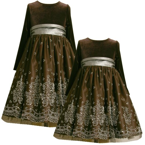 Size-5, BNJ-4644X BROWN SILVER CAVIAR BEADING MESH OVERLAY Special Occasion Wedding Flower Girl Christmas Holiday Party Dress,Bonnie Jean X34644 LITTLE GIRLS