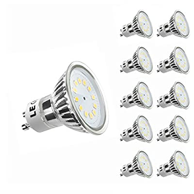 LE MR16 GU10 LED Bulbs, 35W Halogen Bulbs Equivalent, 260lm, 2.5W, Warm White, 3000K, 120° Beam Angle, Recessed Lighting, Track Lighting, LED Light Bulbs, Pack of 10 Units