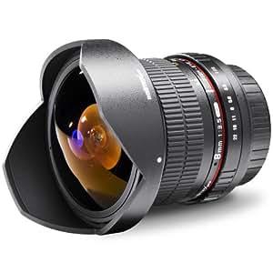 Walimex Pro 8 mm 1:3,5 DSLR Fish-Eye II Objektiv (abnehmbare Gegenlichtblende, IF) für Canon EF-S Objektivbajonett schwarz