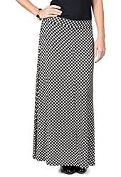 Brinley Co. Womens Black and White Print Maxi Skirt