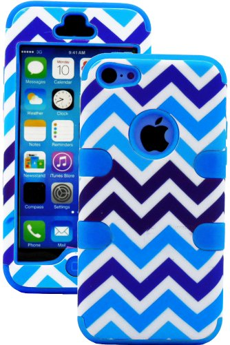 Mylife (Tm) Sky Blue + Blue And White Chevron 3 Layer (Hybrid Flex Gel) Grip Case For New Apple Iphone 5C Touch Phone (External 2 Piece Full Body Defender Armor Rubberized Shell + Internal Gel Fit Silicone Flex Protector + Lifetime Waranty + Sealed Inside
