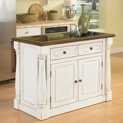 Cheap Monarch Kitchen Island with Granite Top in Antiqued White Sanded (5021-94)