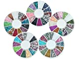 Bundle Monster 5 Nail Art Nailart Manicure Wheels w/ 3D Designs Glitters Rhinestones Beads - total over 7000pc