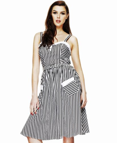 Hell Bunny Black & White Gabriel Dress XS - UK 6 / EU 34