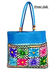Light Blue Traditional Ethnic Embroidered Floral Mirror Work Rajasthani Bag Ladies Cotton Handbag Purse