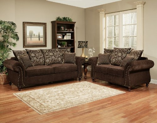 Picture of Benchley 2pc Sofa Loveseat Set Floral Throw Pillow Back in Sable Chocolate (VF_BCL-PARIS-SAB) (Sofas & Loveseats)