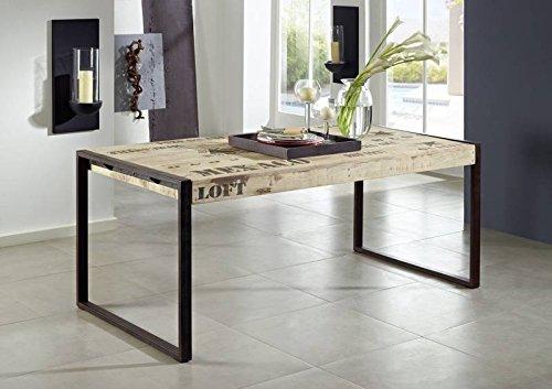 FACTORY table 180 x 90 #113 fer et en bois de manguier imprimé