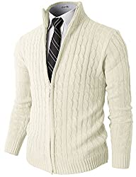 H2H Mens Slim Fit Full-zip Kintted Cardigan Sweaters with Twist Patterned WHITE US S/Asia M (KMOCAL032)