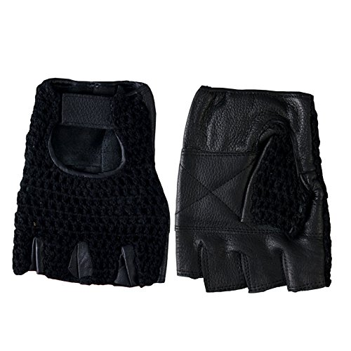 Hot Leathers Fingerless Leather Gloves with Mesh (Black, Medium)