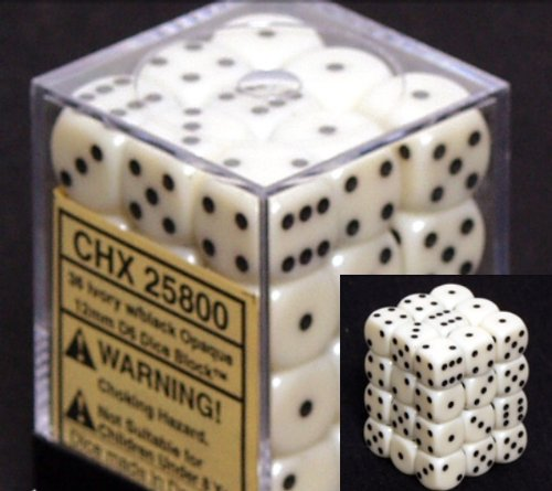 Chessex Dice d6 Sets: Opaque Ivory with Black - 12mm Six Sided Die (36) Block of Dice