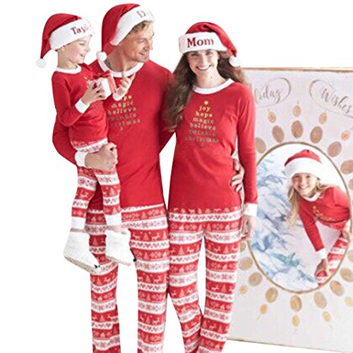 AMA(TM) Christmas Pajamas Family Sets Red Sleepwear Nightwear Pyjamas XMAS Gift