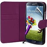 Lila Supergets Hülle für das Samsung Galaxy S4 I9500 Buchstil Klapptasche in Lederoptik Etui Flip Case, Folie, Reinigungstuch, Mini Eingabestift