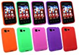 Emartbuy® Samsung S5220 Tocco Lite 2 Bundle Pack of 5 Silicon Skin Cover/Case Purple, Green, Red, Orange & Hot Pink