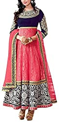 Hatdi Sales Women's Georgette Dress Material (Pink)