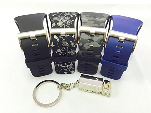 BSI Set 4 - 1 Black 1 Camouflage 1 Navy Blue 1 Ornaments Design Replacement Bands For Samsung Gear S Smart Watch Smartwatch Wireless + Free Silver Metal Truck Keychain with BSI(TM) LOGO