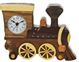Steam Train Clock : Handcrafted Wooden Gift Idea : On/off alarm switch on reverse : Top Hand Painted Gifts for Boys, Girls, Kids, Children & Fun Loving Adults! : 1 Train, 1 Bird & 7 Animal Designs Available : Height approx 12cm