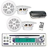 Pyle Marine Stereo Radio Headunit Receiver & Speaker Kit, MP3/USB/SD Readers, CD Player, AM/FM Radio, Single DIN, (4) Waterproof 5.25'' Speakers, Splash Proof Cover (White)