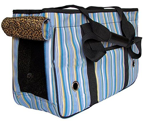 Pet Dog Puppy Cat Kitty Travel Carry Carrier Stripe Handbag Bag Toter (PD0129) (Blue, Medium 451929cm)