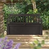 Keter Eden Plastic Garden Storage Bench Box - 265 Litre capacity Brown