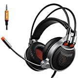 GT SADES SA929 3.5mm Gaming Headset with USB vitural 7.1 Channel Audio Conversion Line, Over Ear Headphones with Mic Noise Canceling and volume control for PC/MAC/PS4/XBOX ONE/Phones (black/orange) (Color: black/orange)