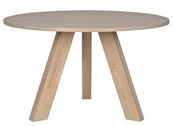 Table à manger diam.130cm chêne massif fumé, H 76 x L 129 x P 129 cm - PEGANE -