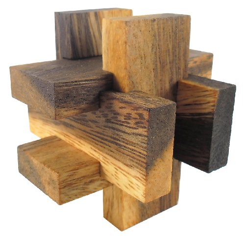 Asian Handmade Wooden Puzzles Game Brown Tone Color From Thailand