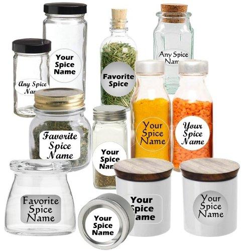 Premium Spice Jar Labels Custom Set of 30 Circle-Clear Casual