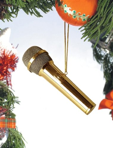 Gold Microphone Musical Instrument Ornament 4 Inches