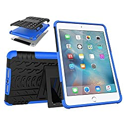 iPad Mini Case, Gold Cherry Shockproof Hybrid Case with Build in I Kickstand Protective Cover for iPad Mini 2 & 3 (iPad Mini 1 2 & 3, Blue)