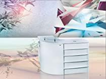 Hot Sale L SHAPED RECEPTION DESK BEAUTY SALON SPA RECEPTION COUNTER - SANDIA(ALL WHITE)