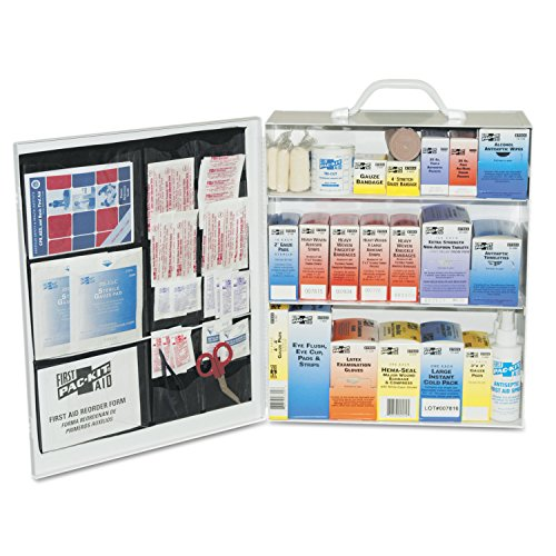Pac-Kit by First Aid Only 6155 493 Piece Steel Cabinet Industrial 3 Shelf First Aid Station with Wall Mount Slots and Handle, 17.5