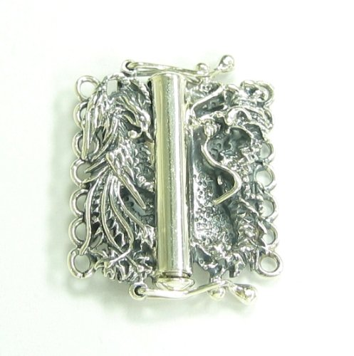 .925 Sterling Silver 7-strand Chinese Traditional Dragon Phoenix Fortune Pearl Box Clasp Connector Switch Bead with Safety Lock