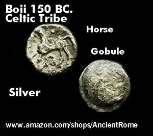 THE BOII TRIBE. Ancient Celtic Silver Coin. Ruselsdorf Hoard. Horse and Rider.