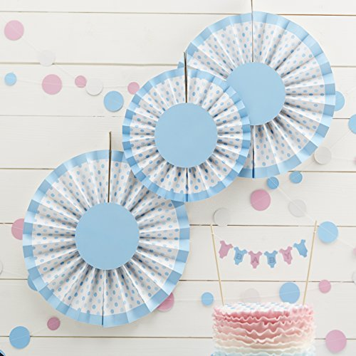 Ginger Ray Baby Blue Spotty Fan Pinwheel Hanging Decorations - Little Lady or Mini Mister - 1