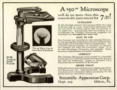 1926 Ad For The $7.50 Scientific Apparatus Microscope Original Paper Ephemera Authentic Vintage Print Magazine Ad / Article